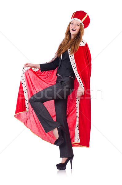 Woman business posing as queen isolated on white Stock photo © Elnur