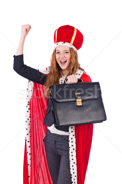 Woman businesswoman posing as queen isolated on white Stock photo © Elnur