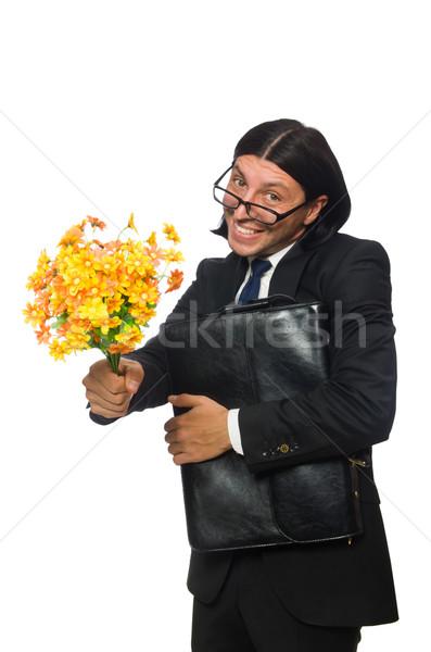 Yakışıklı işadamı çiçek kısa durum yalıtılmış Stok fotoğraf © Elnur