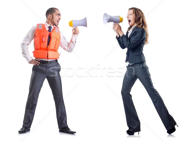 üzletasszony hangfal fehér férfi munka hangszóró Stock fotó © Elnur