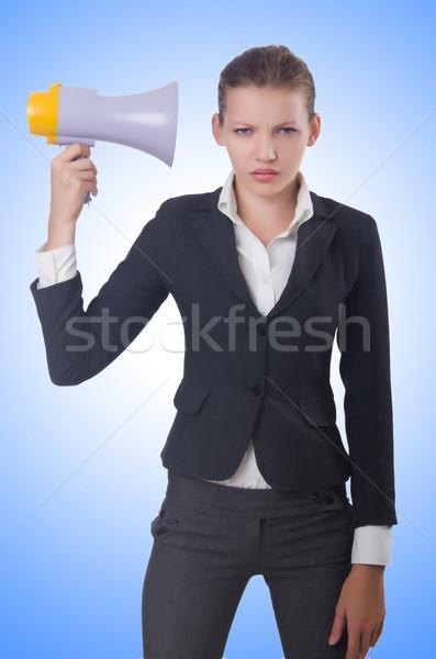 Kobieta głośnik biały dziewczyna uśmiech pracy Zdjęcia stock © Elnur