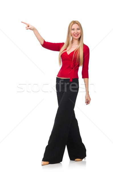 Fiatal nő nadrág izolált fehér lány mosoly Stock fotó © Elnur