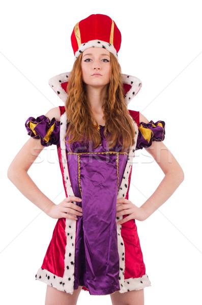 Stock foto: Frau · Königin · isoliert · weiß · Arbeit · rot