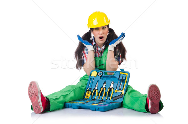 Female workman in green overalls with tool kit isolated on white Stock photo © Elnur