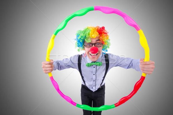 Grappig clown hoelahoep witte partij sport Stockfoto © Elnur
