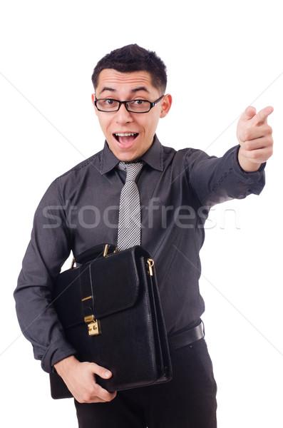 Jonge man aktetas geïsoleerd witte man Stockfoto © Elnur