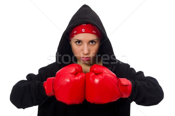 Woman boxer isolated on the white Stock photo © Elnur