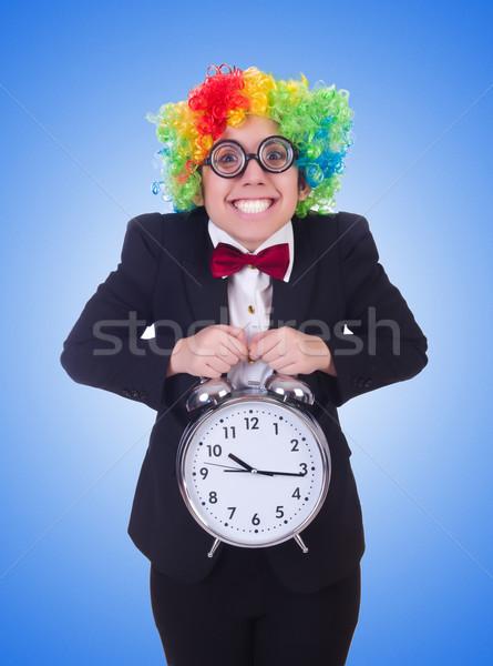 Funny payaso reloj blanco fiesta feliz Foto stock © Elnur