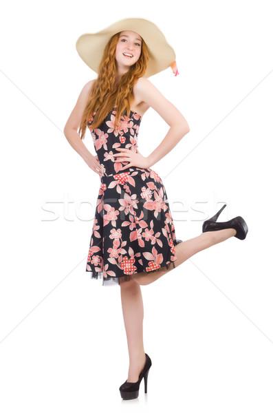 Jonge vrouw mode model dansen zomer witte Stockfoto © Elnur