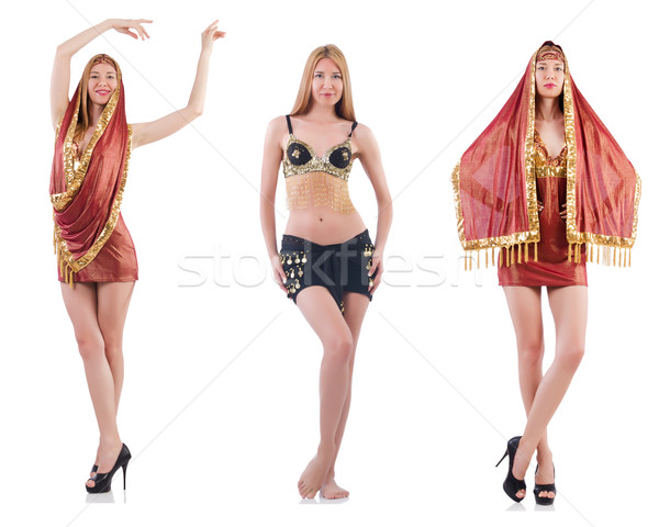 Set of photos with belly dancer on white Stock photo © Elnur