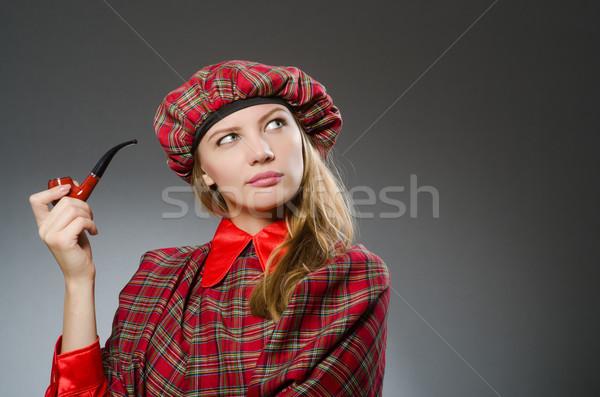 Kadın geleneksel giyim dans sigara içme Stok fotoğraf © Elnur