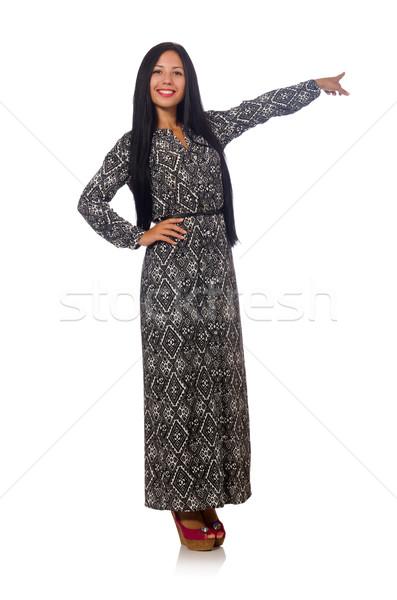 Cheveux noirs femme longtemps gris robe isolé Photo stock © Elnur