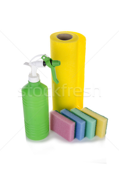 Cleaning cloth sponges and sprayer isolated on white Stock photo © Elnur
