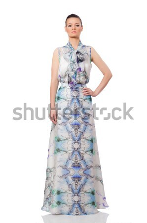 Beautiful girl in elegant long dress isolated on white Stock photo © Elnur
