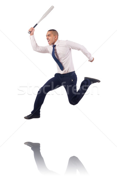 Businessman jumping with baseball bat Stock photo © Elnur