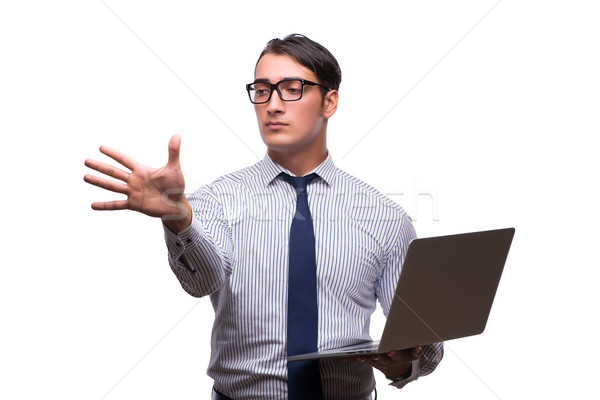 Man with laptop isolated on white Stock photo © Elnur