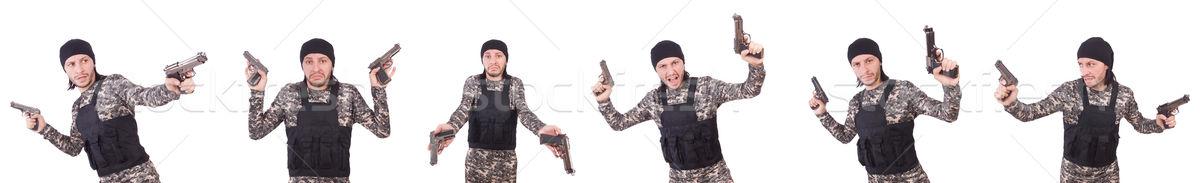 Soldato gun isolato bianco mano uomo Foto d'archivio © Elnur