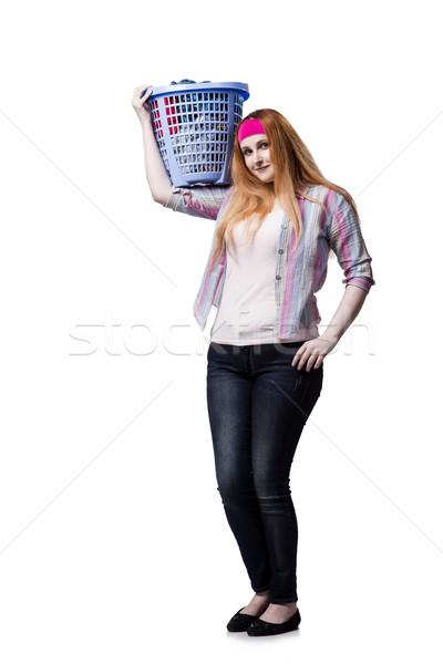 Mujer cansado lavandería aislado blanco casa Foto stock © Elnur