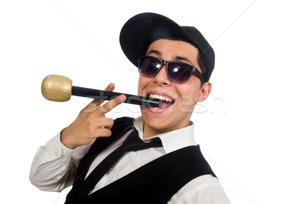 Komik adam karaoke kulüp yalıtılmış beyaz Stok fotoğraf © Elnur