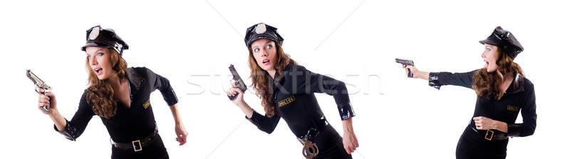 Femminile polizia isolato bianco moda modello Foto d'archivio © Elnur