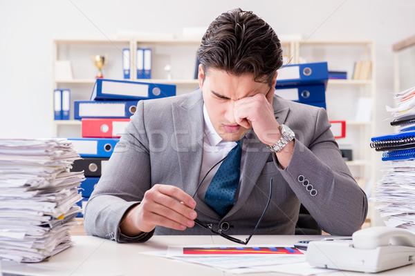 Işadamı meşgul evrak iş ofis adam Stok fotoğraf © Elnur