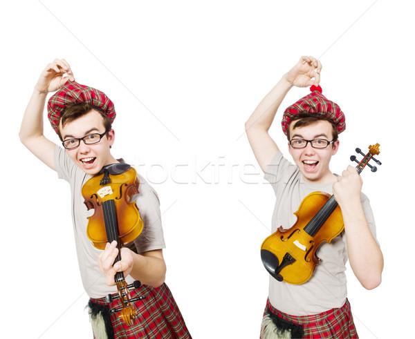 Komik keman beyaz müzik adam arka plan Stok fotoğraf © Elnur