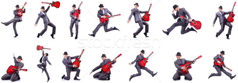 Gitarist geïsoleerd witte business partij achtergrond Stockfoto © Elnur