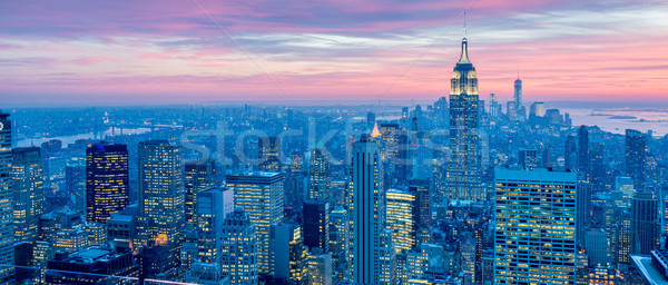 New York Manhattan zonsondergang business hemel Stockfoto © Elnur