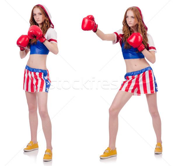 Nő boxoló egyenruha szimbólumok lány egészség Stock fotó © Elnur