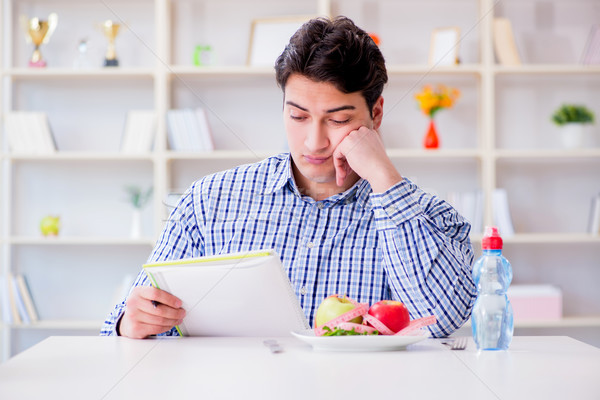 The man on special diet programm to lose weight Stock photo © Elnur