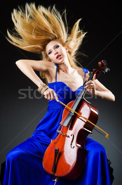 Viyolonsel stüdyo kadın konser keman Stok fotoğraf © Elnur