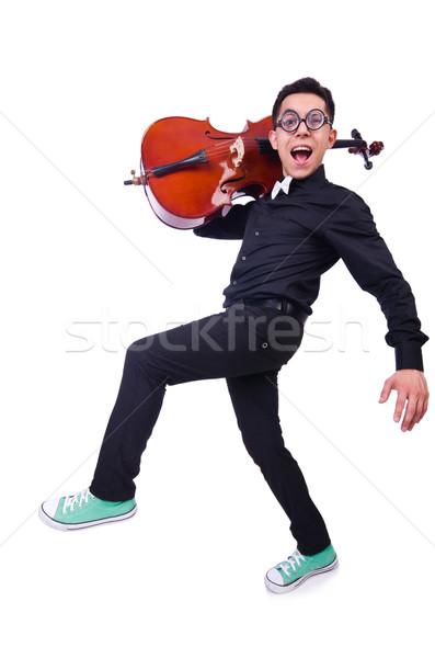 Vicces hegedű játékos fehér férfi hang Stock fotó © Elnur