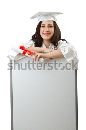 Foto stock: Mulher · jovem · vermelho · traje · conselho · menina
