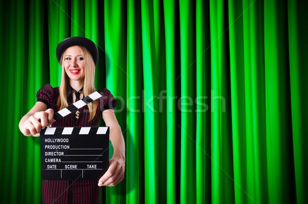 Vrouw gangster film film achtergrond veiligheid Stockfoto © Elnur