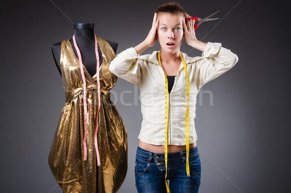 Mulher alfaiate trabalhando roupa moda trabalhar Foto stock © Elnur
