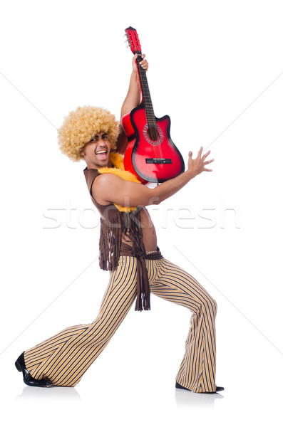 Maschio chitarrista isolato bianco party metal Foto d'archivio © Elnur