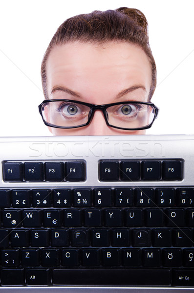 Nerd Geschäftsmann Computer-Tastatur weiß Business Internet Stock foto © Elnur