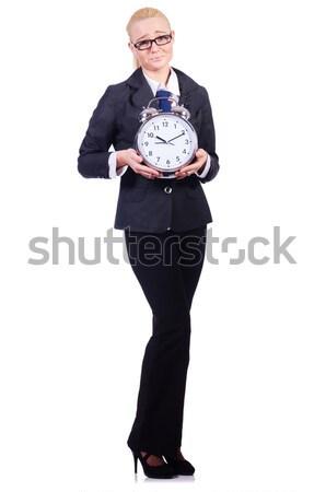 Foto d'archivio: Donna · gigante · clock · bianco · ufficio · lavoro