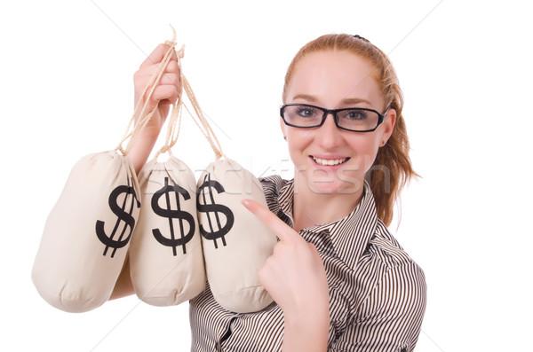 молодые деловая женщина деньги белый бизнеса служба Сток-фото © Elnur