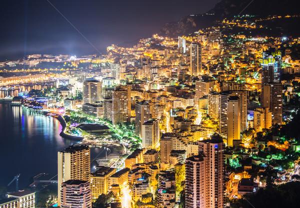 Stock fotó: éjszaka · kilátás · Monaco · hegy · víz · nyár