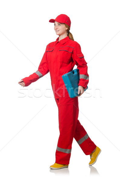 Woman construction worker in red coveralls on white Stock photo © Elnur