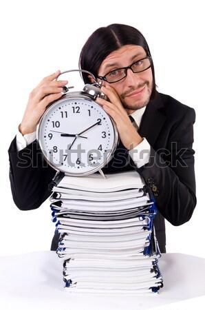 Divertente uomo ax clock bianco lavoro Foto d'archivio © Elnur