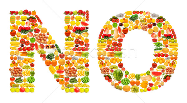 Stock photo: Silhoette made from various fruits and vegetables