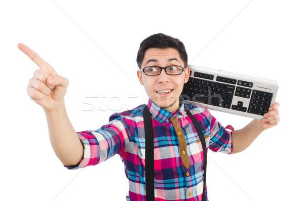 Computer nerd with keyboard isolated on white Stock photo © Elnur