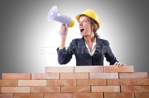 Mujer constructor altavoz blanco negocios construcción Foto stock © Elnur