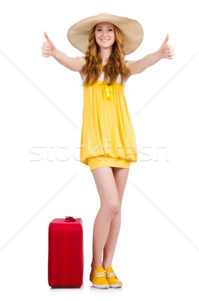 Fiatal lány utazás tok remek izolált fehér Stock fotó © Elnur