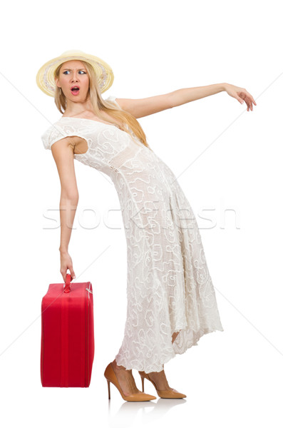 Woman with red suitcase isolated on white Stock photo © Elnur