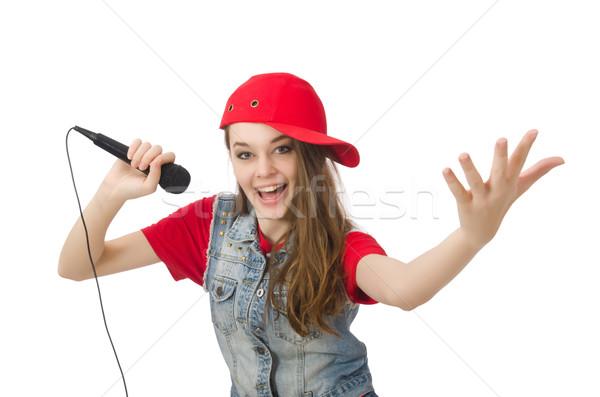 Dość dziewczyna karaoke odizolowany biały kobieta Zdjęcia stock © Elnur