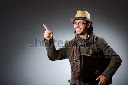 Engraçado safári caçador fundo pistola pessoa Foto stock © Elnur