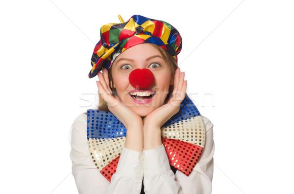 Bella femminile clown isolato bianco donna Foto d'archivio © Elnur